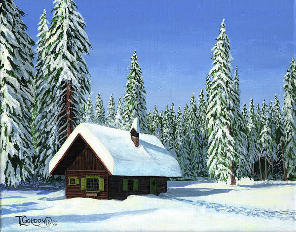 Wall Art - Painting - North Woods Cabin by Timithy L Gordon