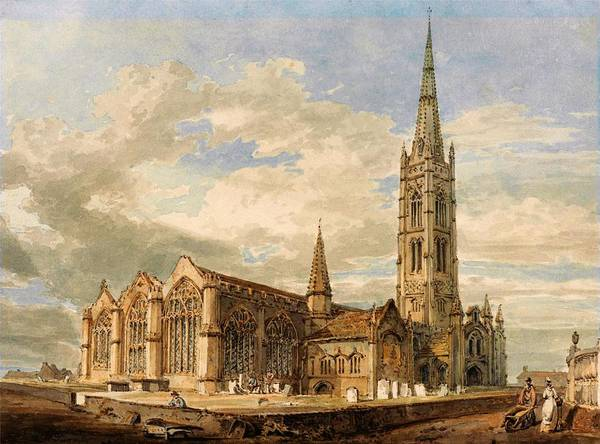 Wall Art - Painting - Northeast View Of Grantham Church, Lincolnshire - Digital Remastered Edition by William Turner