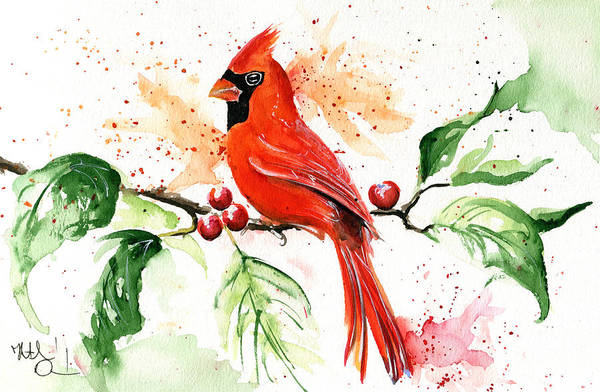 Painting - Northern Cardinal by Dora Hathazi Mendes