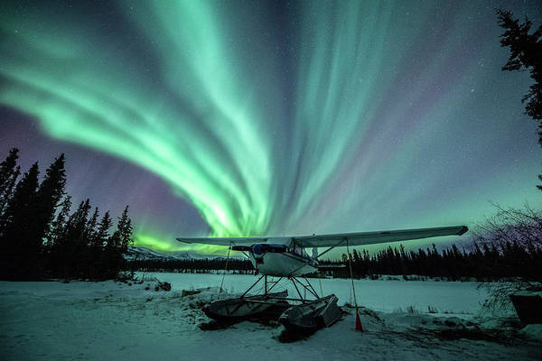 Wall Art - Photograph - Northern Lights Above A Plane At Night by Jonathan Tucker