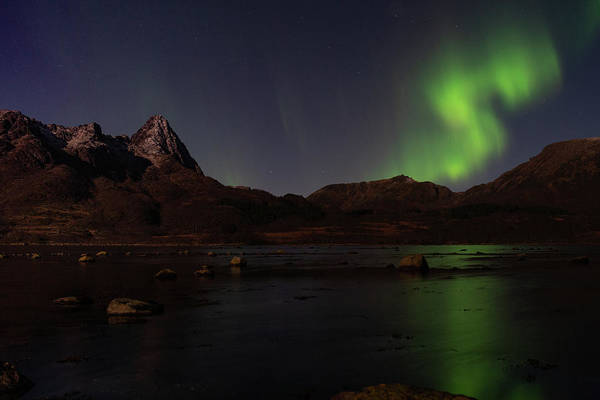 Northern Lights Aurora Borealis In Norway Art Print
