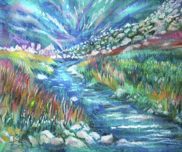 Pastel - Northern Lights Brook by Jean Batzell Fitzgerald