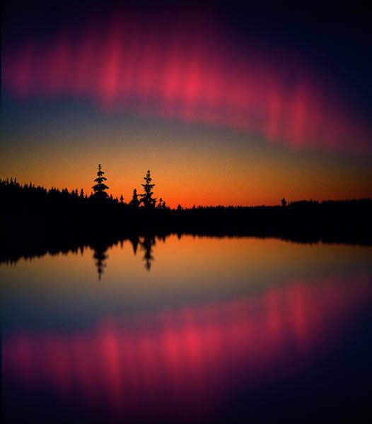 Wall Art - Photograph - Northern Lights Reflecting On A Lake by Per-andre Hoffmann / Look-foto