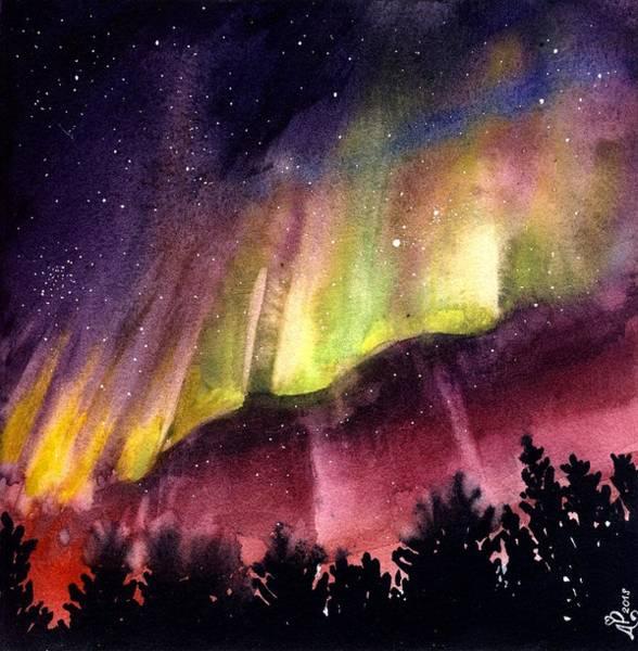 Blacklight Painting - Northern Lights Watercolor by Natalia Stasishina