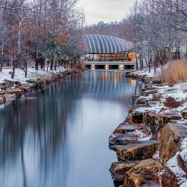Wall Art - Photograph - Northwest Arkansas Crystal Bridges Museum With Winter Snow - Square Format by Gregory Ballos