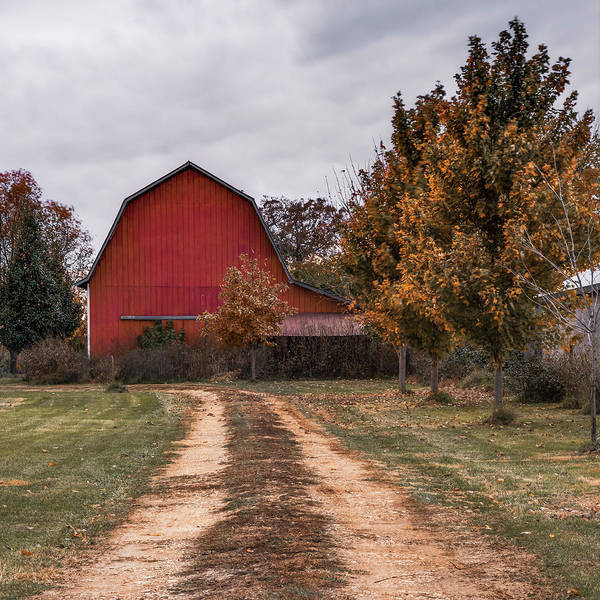 Photograph - Northwest Arkansas Red Barn Dirt Road by Gregory Ballos