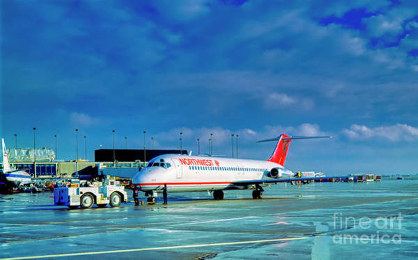 Photograph - Northwest, Orient, Dc 9, Push, Back, Chicago, O'hare, Ramp by Tom Jelen