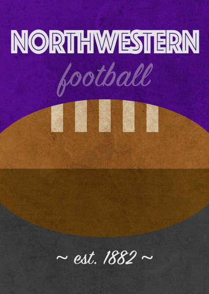 Wall Art - Mixed Media - Northwestern College Football Team Vintage Retro Poster by Design Turnpike