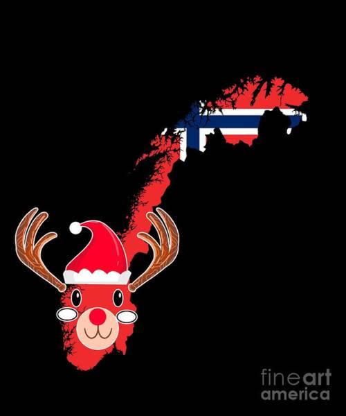 Ugly Digital Art - Norway Christmas Hat Antler Red Nose Reindeer by TeeQueen2603