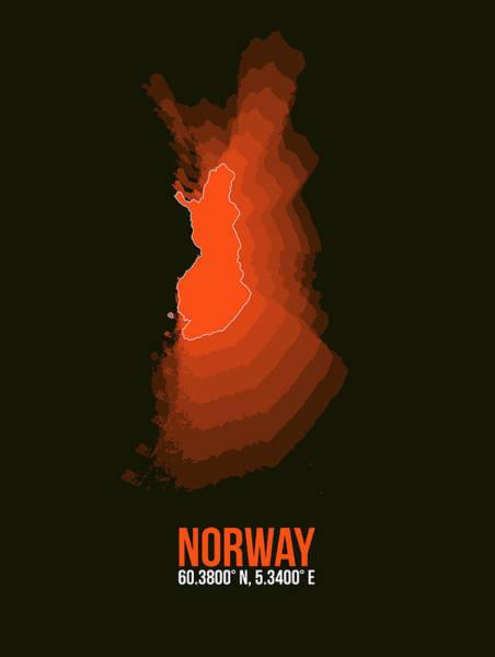 Wall Art - Digital Art - Norway Radiant Map I by Naxart Studio