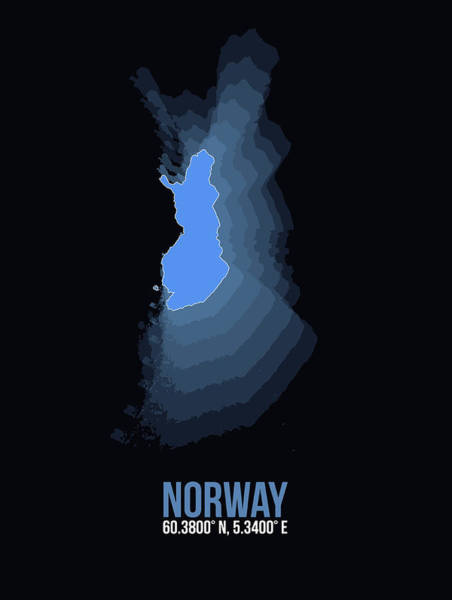Wall Art - Digital Art - Norway Radiant Map II by Naxart Studio