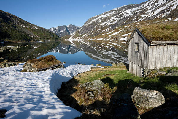 Residential Area Photograph - Norwegian Mountain Lake With Cabins by Stevegeer