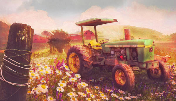 Wall Art - Photograph - Nostalgic Old Tractor In The Fields by Debra and Dave Vanderlaan