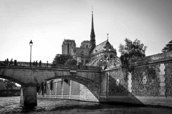 Photograph - Notre Dame And Pont De L'archeveche Covered With 'love Padlocks' Bw by RicardMN Photography