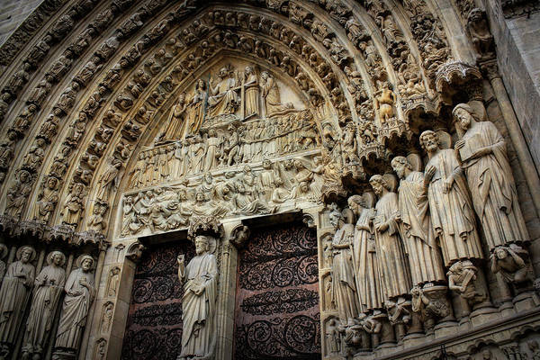 Wall Art - Photograph - Notre Dame Cathedral Main Entrance by Daniel Hagerman