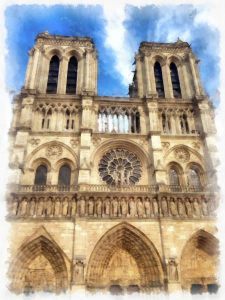 Painting - Notre Dame Cathedral Paris Watercolor by Matthias Hauser
