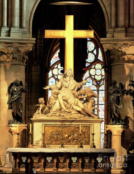 Photograph - Notre-dame De Paris Altar And Crucifix by John Rizzuto