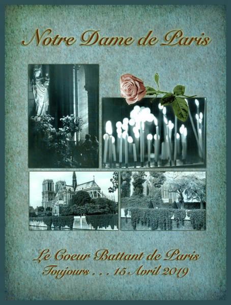 Digital Art - Notre Dame De Paris In Blue by Bonnie Follett