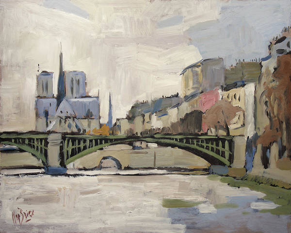 Painting - Notre Dame During Winter II by Nop Briex