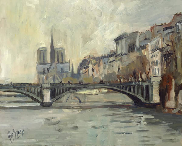 Wall Art - Painting - Notre Dame During Winter by Nop Briex