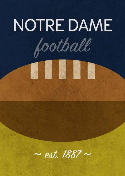 Wall Art - Mixed Media - Notre Dame Football Minimalist Retro Sports Poster Series 005 by Design Turnpike