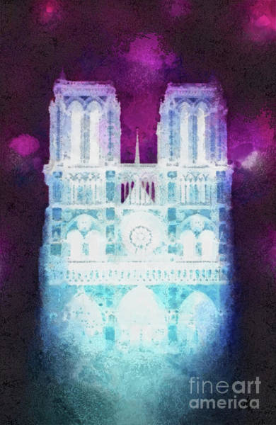 Wall Art - Painting - Notre Dame Night by Mo T