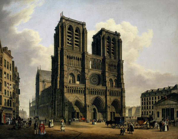 Wall Art - Painting - Notre Dame Of Paris, 1840 by Hubert Sattler