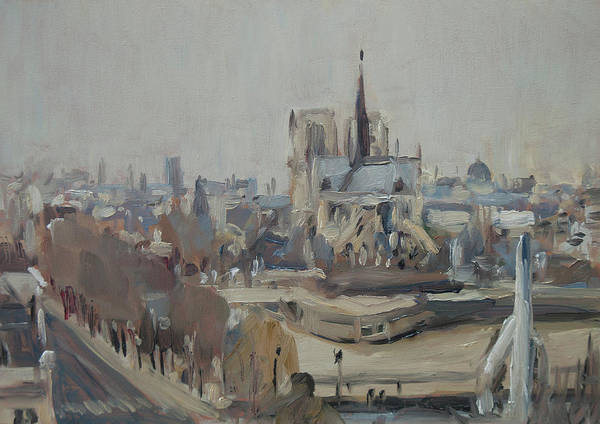 Wall Art - Painting - Notre Dame Of Paris Winter IIi by Nop Briex