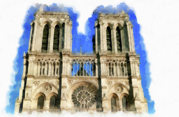 Painting - Notre Dame Paris Cathedral Watercolor by Matthias Hauser