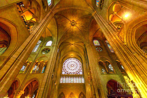 Photograph - Notre Dame Rose Window by Benny Marty