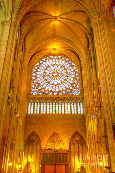 Photograph - Notre Dame Rose Window Vertical by Benny Marty