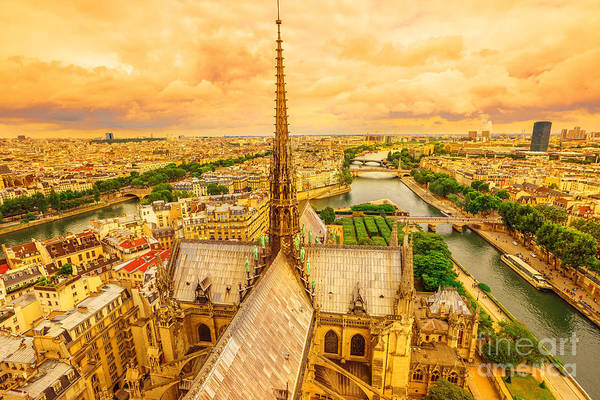 Photograph - Notre Dame Spire Panorama by Benny Marty