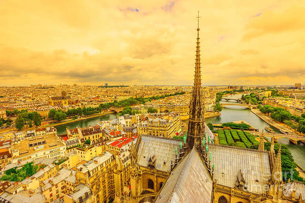 Photograph - Notre Dame Spire Sunset Panorama by Benny Marty