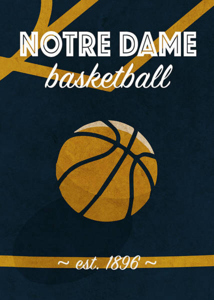 Wall Art - Mixed Media - Notre Dame University Retro College Basketball Team Poster by Design Turnpike