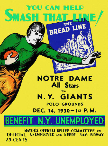 Wall Art - Painting - Notre Dame Versus Ny Giants Football Program by John Farr