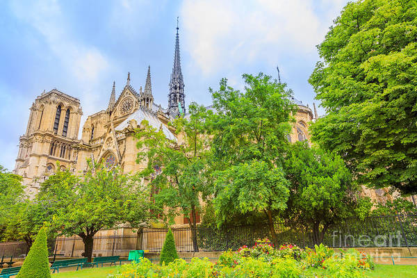 Photograph - Notre Dame With Garden by Benny Marty