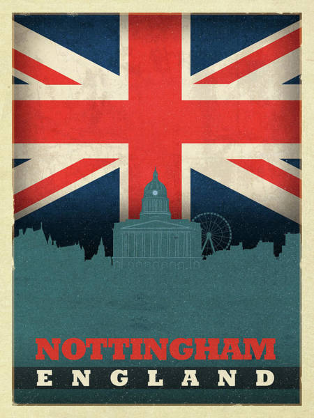 Wall Art - Mixed Media - Nottingham England City Skyline Flag by Design Turnpike