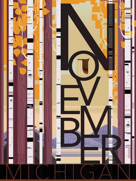 Fall Colors Digital Art - November Michigan by Garth Glazier