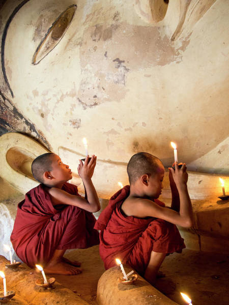 Shaved Head Photograph - Novice Monks by Marty Windle