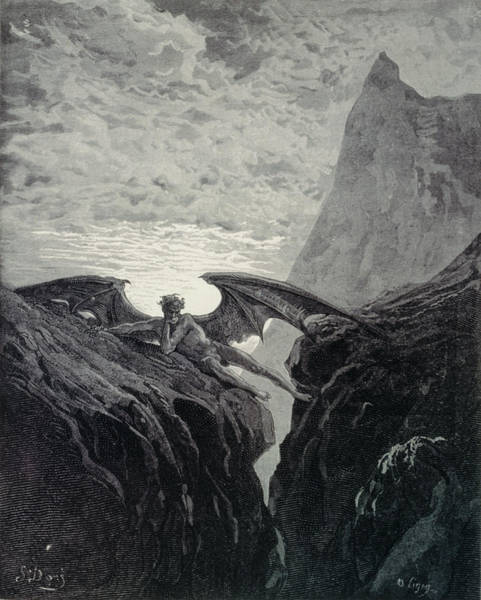 Grey Skies Drawing - Now Night Her Course Began From Paradise Lost By John Milton, Engraved By Ligny, 1882 by Gustave Dore