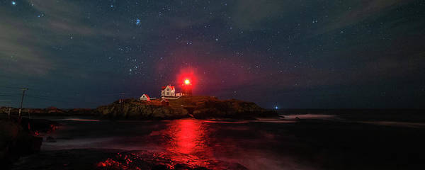 Photograph - Nubble At Night In Pano Format by Rod Best