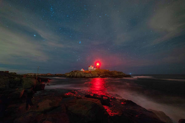 Photograph - Nubble At Night by Rod Best