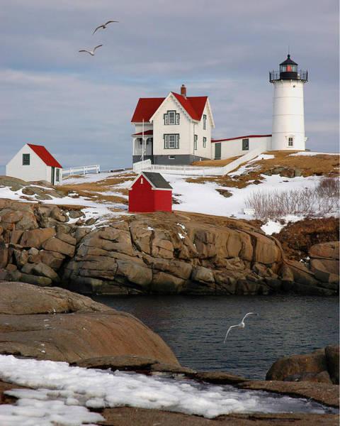 Nubble Light - Cape Neddick Lighthouse Seascape Landscape Rocky Coast Maine Art Print