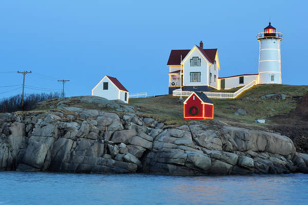 Photograph - Nubble Light Holiday Glow by Luke Moore