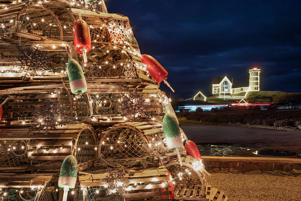 Photograph - Nubble Lighthouse And The Lobster Trap Tree  by Joann Vitali