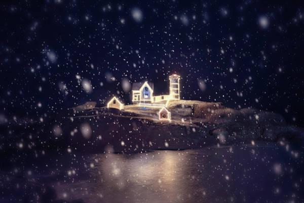 Wall Art - Photograph - Nubble Lighthouse In Snow - York, Maine by Joann Vitali