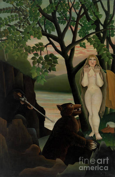 Wall Art - Painting - Nude And Bear, 1901  by Henri Rousseau
