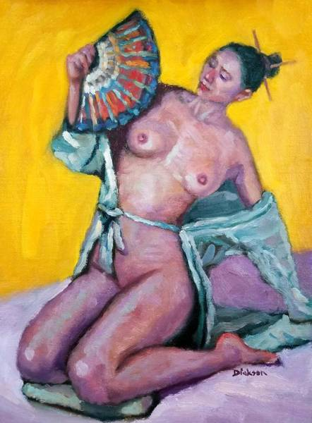 Painting - Nude Girl With Fan by Jeff Dickson