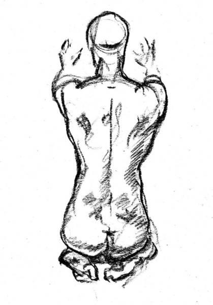 Gorgeous Drawing - Nude Male Gesture Xviii by Irina Sztukowski