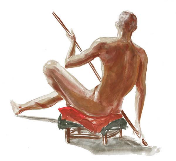 Painting - Nude Male Study In Gouache by Irina Sztukowski